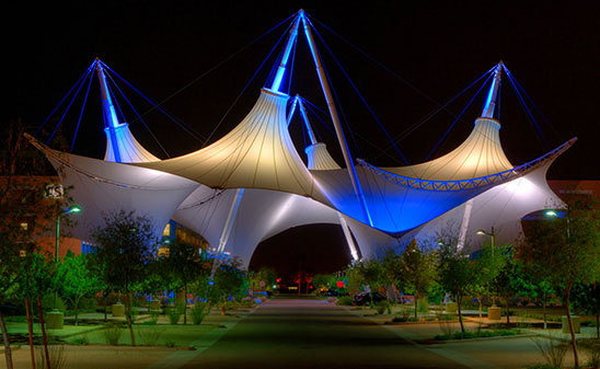 Builder:       USA-Shade and Fabric Structures, Dallas, Texas Architect:    FTL Studios, NYC Engineer:    Wade Consulting Group, Brisbane, Australia Fabricator:   Atkins Software:    NDN Membrane
